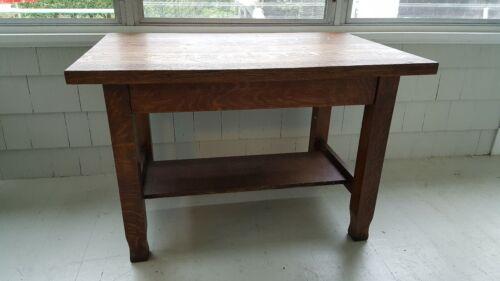 Antique Arts and Crafts Mission Tiger Oak Library Desk/Table.