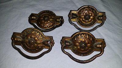 "Set of 4 Vintage Antique Brass Drawer Pulls 3 1/8"" Long with Center Mount"