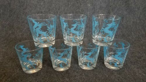 7 Vintage Christmas Clear Glass w/Blue Leaping Deer Drinking Tumblers/Glasses
