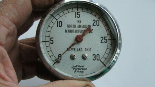 Vintage Air Pressure Gauge 0-30 psi Heavy Duty Jas. P Marsh Corp. Chicago Glass