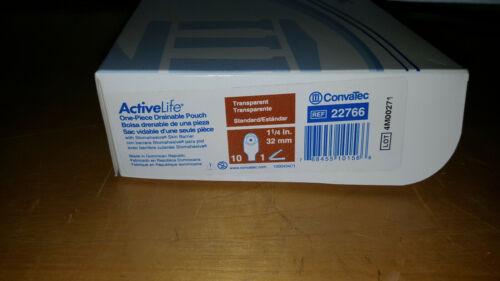 "ConvaTec ActiveLife 22766 One-Piece Drainage Pouch 1 1/4"" 32mm 10/box 1 clip"