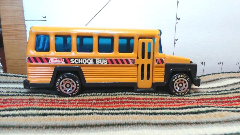 Buddy l, Toy School Bus, Metal, 1980, Doors Open, Tires Turn, Collectible Toys