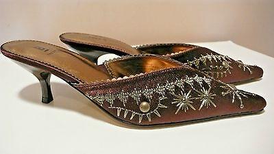 BAKERS  Womens Pointed Toe Kiten Heels Slip-On Pump Mules Sandals Sz 71/2 B NEW