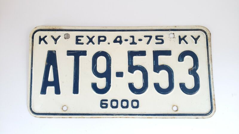 Vintage Kentucky 75 License Plate Antique NICE 1975