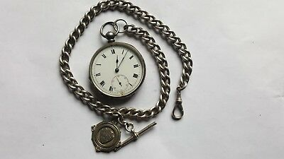 Antique Silver Pocket Watch With Silver Albert 42.2g