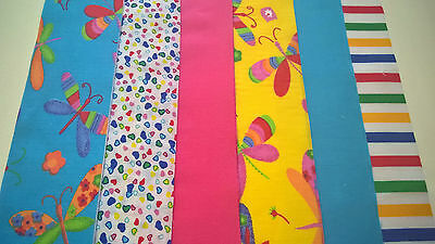 12 x Rainbow Dragonfly Fabric Jelly Roll Strips Polycotton Patchwork Quilting