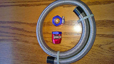 "Braided Stainless Steel Flexible Fuel Line Kit 5/16"" I.D. Red/Blue Clamps 24"""