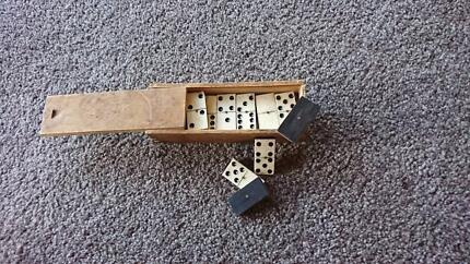 Antique Ebony & Ivory Domino set in Original Wooden Box