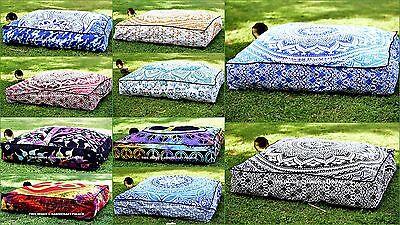 Indian Mandala Floor Pillows Square Ottoman Poufs Large Cush
