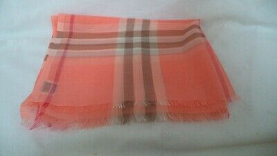 NEW BURBERRY  XLARGE PEACH GIANT CHECK SILK GAUZE SCARF