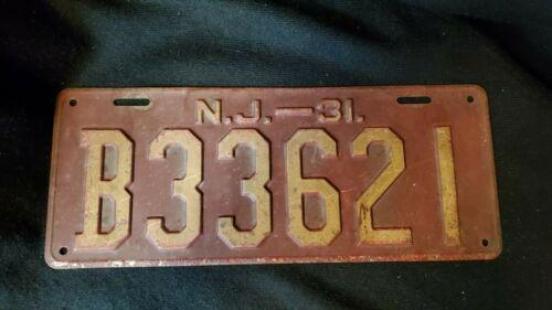 1931 New Jersey License Plate NJ 31 Tag B33621