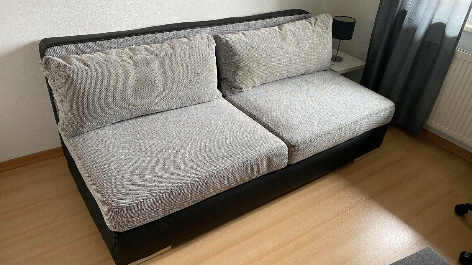 Schlafsofa, 2-Sitzer, mit Bettkasten, grau/schwarz