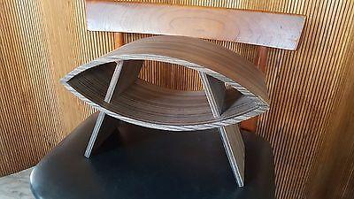 Levenger Mid Century Modern Striped Wood Desk Top Organizer Storage