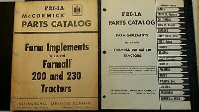 Ih Original Parts Manual - Farm Implements For Farmall 200230 Tractors F21-1a