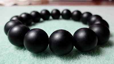 "Matte Black Onyx Bead Bracelet for Men or Women (On Stretch) 12mm - 7.5"" inch"
