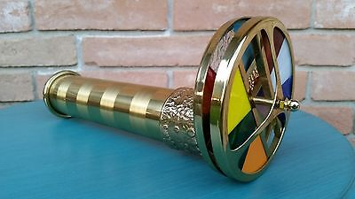 Vintage Brass Kaleidescope 2 Wheels Dual Premium Large Vibrant Decorate Collect