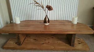 Hand Made Rustic Chunky Solid Wood Corner TV Unit Oak Effect