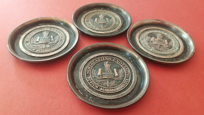 "Vtg Set of 4 Copper Northeastern University Boston  3 1/8"" Coasters Hyde Park Co"