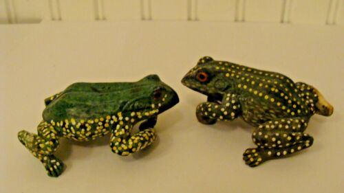 Vintage 2 Colorful Frog Figurines