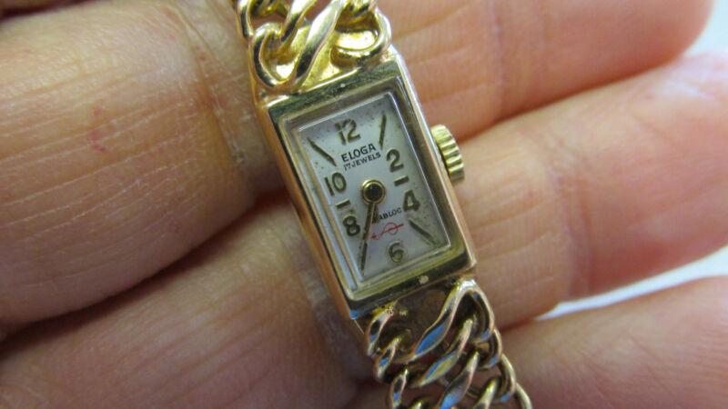 Estate   Eloga Bracelet watch 14k Gold Circa 1950s   Make Offer