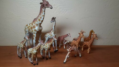 Dozen vintage AAA and other brands giraffe PVC plastic figures lot 5 to 9 inches