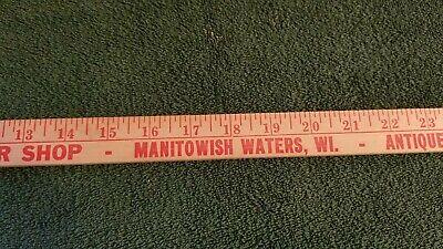 Vintage Manitowish Waters Sampler Shop Antiques Advertising Yardstick Wisconsin