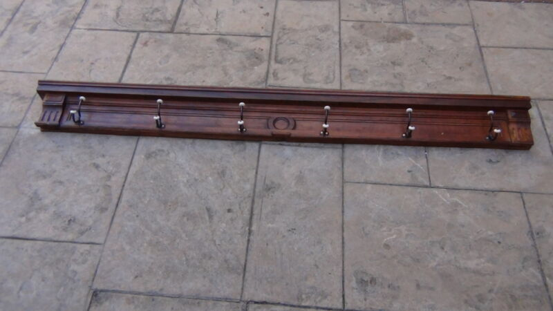 ANTIQUE FRENCH SOLID OAK FOYER OR HALL SHELF WITH COATS,CANES  BRASS HANG HOOKS