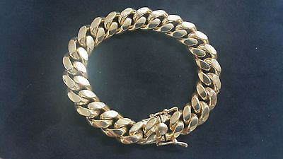 """8.5"""" Miami Cuban Link Chain Bracelet 14K Yellow Gold Over 925 Sterling Silver"""