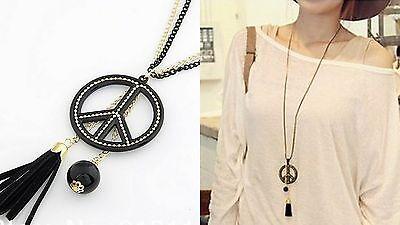 lange Halskette Peace Peacezeichen Kette Anhänger Quaste Schwarz Goldfarben 1210