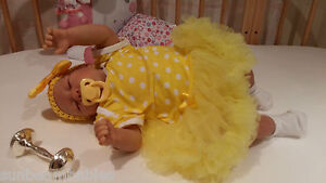 SUNBEAMBABIES CHILDS REBORN GIRL WITH CUTE FRECKLES BALD DOLL ,FAKE BABY BOTTLE
