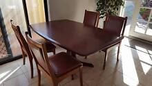 Jarrah dining table with 4 leather chairs Redcliffe Belmont Area Preview