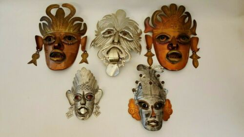 VTG MEXICAN TIN COPPER TOURIST MASKS LOT OF 5 LARGE SMALL GLASS EYES