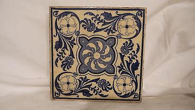 """Antique  TILE, Blue & White, Victorian Era, 6"""", Registered, Floral Design"""