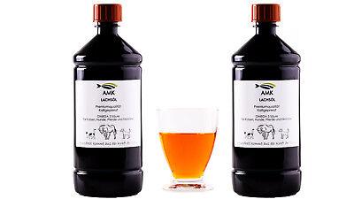 Lachsöl 2x1L, für  Hunde, Katzen,100% natürliches Produkt,Barfen,Omega3, 8,49€/L