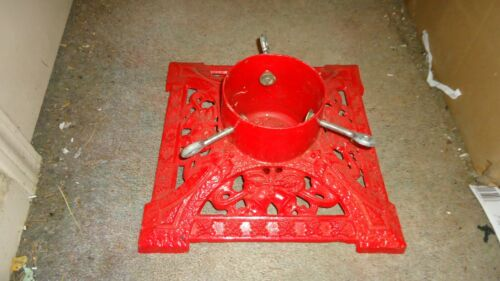 Cast Iron Christmas Tree Stand ~ RED ~ Bells & Holly~Ornate~Vintage~RARE