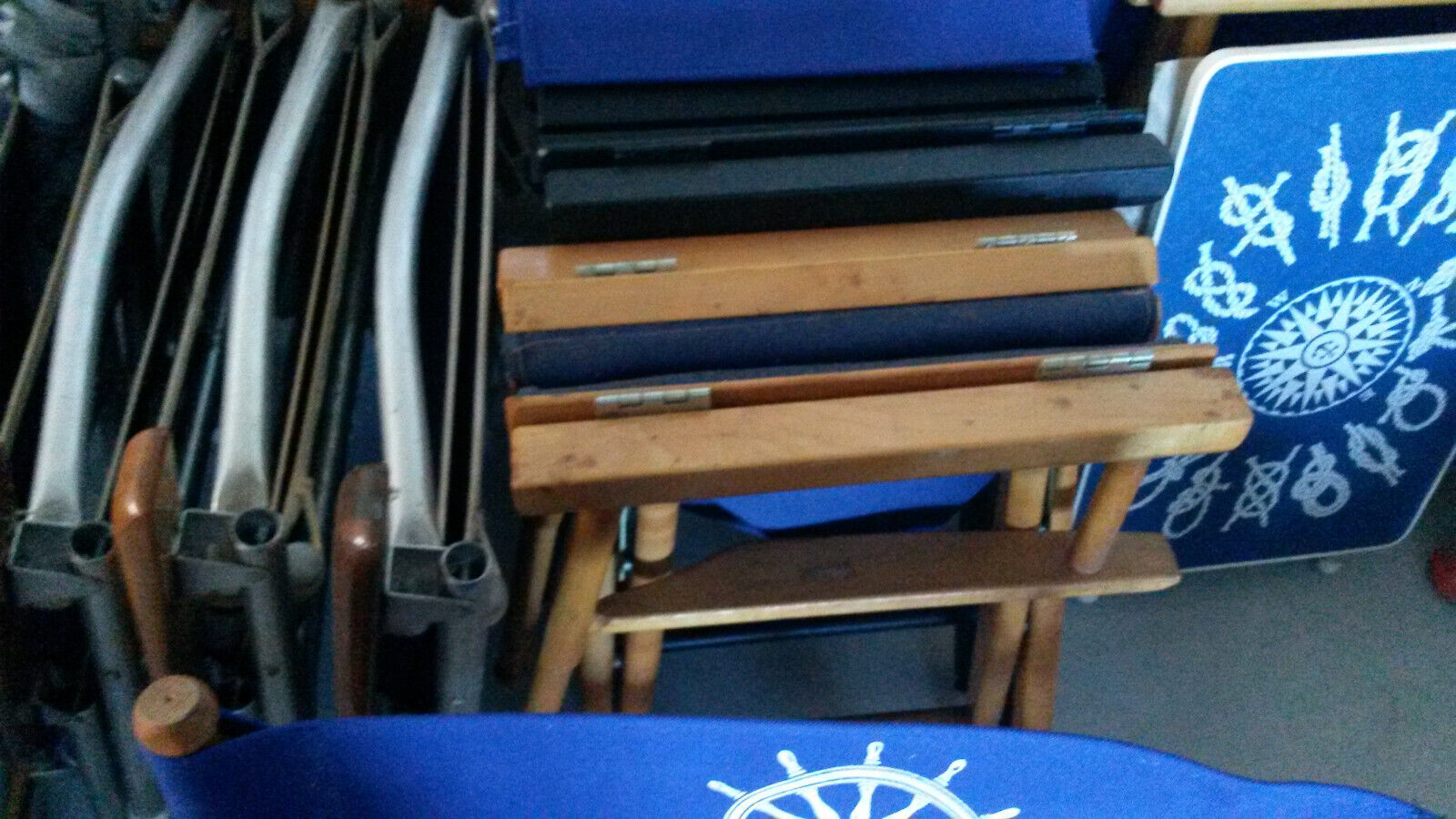 Marine/Boat 5 Directors Chairs By Telescope Hardwood Frames 1970 s New/Old Stock - $850.00