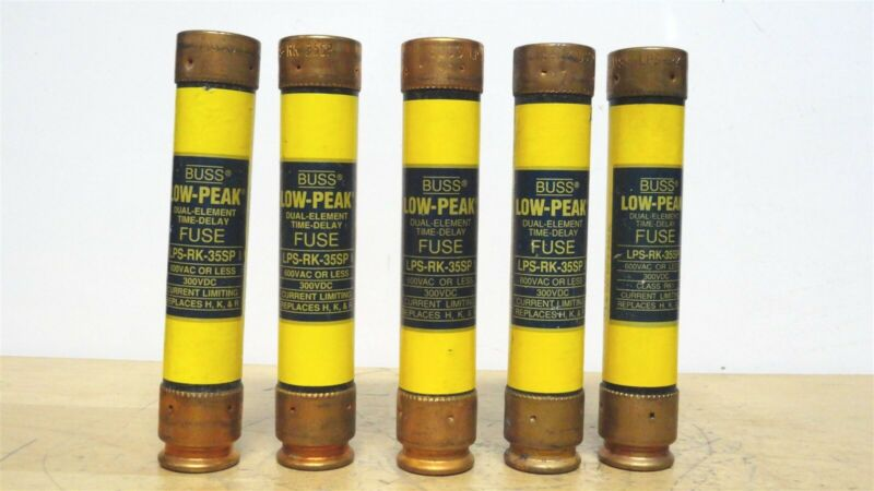 (5) BUSSMANN - LPS-RK-35SP - 35A Low Peak Time Delay Fuse - 600VAC/300VDC -NEW