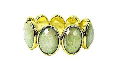 Light Green Facet Cut Oval Acrylic Stretch Beaded Bracelet- -