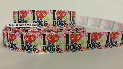 Grosgrain Ribbon, I Love Dogs, Paw Prints on Heart, Pets Puppy Furry Friend 7/8