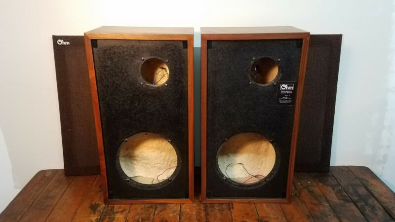 Pair of Vintage Ohm Model E Speaker Enclosures Cabinets w/ Crossovers & Grilles