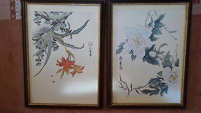 2 Gemälde Bilder asiatische Malerei  mit Signatur und Rahmen