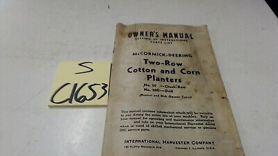Mccormick-deering No.20 20d Two Row Cotton Corn Planters 9-1-44