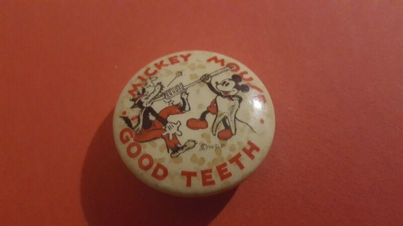 "Mickey Mouse Good Teeth 1.25"" ADA Walt Disney Enterprises 1930s Pinback Button!"