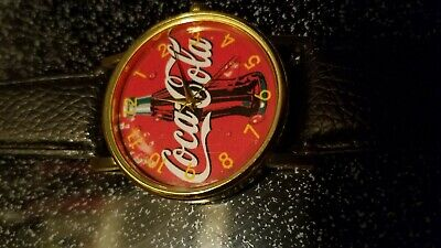 VINTAGE 2002 Coca-Cola Wrist Watch leather band Coke