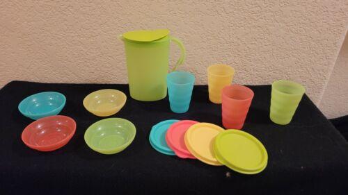 Tupperware 9pc KIDS MINI SERVE IT beverage set pitcher tumblers plus bowls party