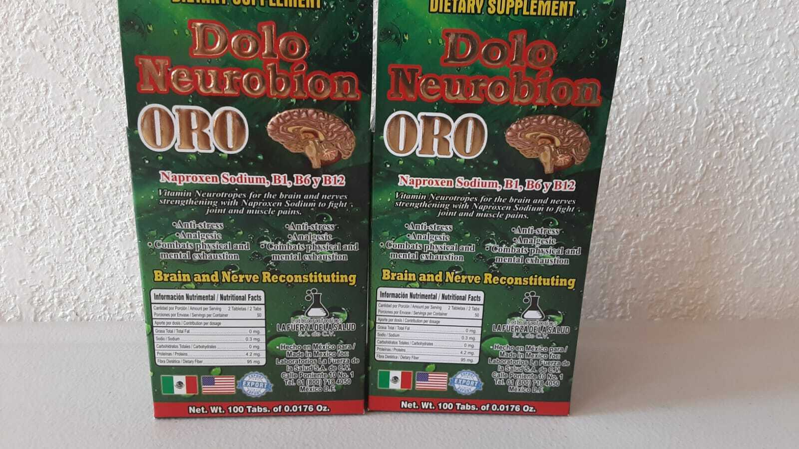 2 PACK Dolo Neurobion Oro Naproxen Sodium, Vitamins B1, B6 and B12 Stress Relief
