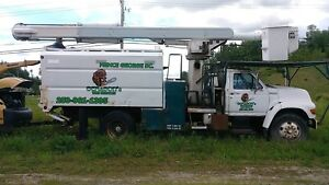 Bucket truck and chipper for sale