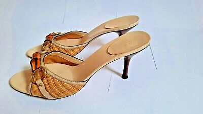 GUCCI Bamboo Vintage Authentic Leather and Raffia Heels Size 39.5C EU 8.5 US