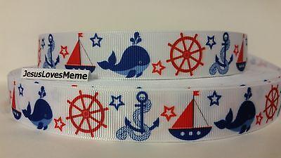 Grosgrain Ribbon, Sailboats Whales Ship Stern Anchors Ropes Stars, Nautical - Nautical Ribbon