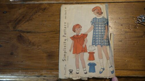 Antique Vintage Sewing Pattern SIMPLICITY #1463 Dress Sz 2